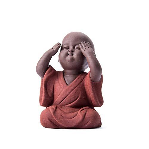 ZHANGJ Handgemachte Buddha Tee Haustier Lila Sand Samurai Mönch Tee Haustier Tee Zubehör Kung Fu Tee-Set Craft Dekoration, Nicht Zu Sehen
