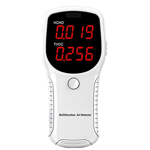 KKmoon Luftqualität Messgerät Professionelle Prüfung Temperatur und Luftfeuchtigkeit Formaldehyd HCHO TVOC LED-Digitalanzeige Tester Mini Kohlendioxid Detektor Gasanalysator