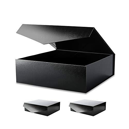 BLK&WH 3 Extra Large Gift Boxes with Lids 17x14.5x5.5 Inches, Black Gift Boxes with Magnetic Lids, gift Boxes for Clothes and Large Gifts (Glossy Black with Embossing)