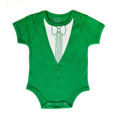 St. Patrick's Day Tuxedo Bodysuit - Frenchie Mini Couture (0-3 Months)