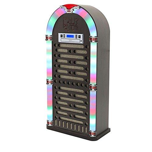 itek I60017 Floorstanding Multi-Functional Bluetooth Jukebox with CD Player, FM Radio, Colour Changing LED Display, 2 x 10 W Speakers, Brown, 40.0 cm*24.5 cm*84.0 cm