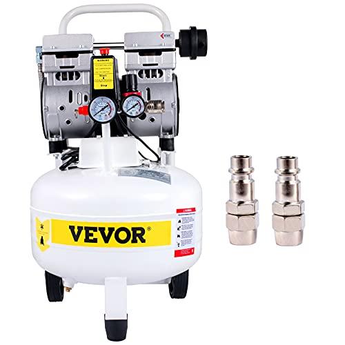 VEVOR Pancake Air Compressor, 25L/5.5 Gallon Vertical Air Compressor Tank, 1HP 750W Portable Oilless Compressor, Ultra Quiet, 115PSI, 5.9CFM, 1440RPM, for Tire Inflation, House Renovation, Air Tools