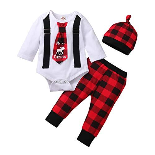 Unisex Baby Girls Boys Christmas Outfit Long Sleeve Romper Bowtie Bodysuit Plaid Pants Hat 3Pcs Xmas Clothes (White, 3-6M)