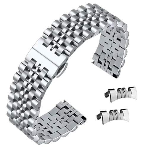 22mm cinturini sostituzione braccialetto alla moda Silver Jubilee stile solido fibbia deployante in acciaio inossidabile