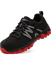 [WHITIN] 安全靴 作業靴 ワークシューズ 鋼先芯(JIS H級相当) 反射ストラップ 耐滑ソール メンズ
