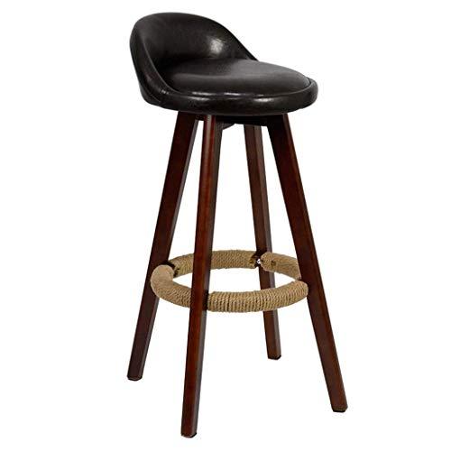 MTCGH Stühle, Hochstühle, Barstühle, Hocker Vintage Swivel Bar Hocker Stühle Höhe Fußstützenzähler Frühstück Café Küche Pu Polster,Schwarz