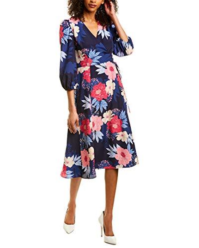 Eliza J Women's Printed MIDI WRAP Dress, Navy, 10