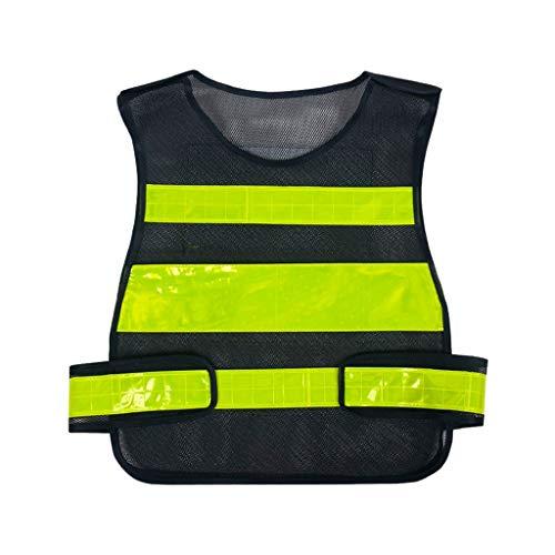 Reflektierende Sicherheitsweste Atmungsaktives Gitter Führung Engineering Site Arbeitskleidung Warnschutzweste Reisen bei Nacht Hochbausicherheit Unisex Schwarz