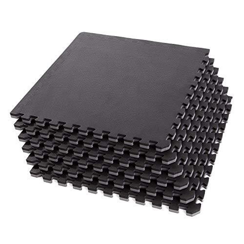"IncStores - 1"" MMA Interlocking Foam Tiles (Black/Grey, 6 Tiles (2ft x 2ft Tiles) 24 Sqft) - Perfect for Martial Arts, Lightweight Home Gyms, p90x, Insanity, Gymnastics, Yoga, Cardio and Aerobics"