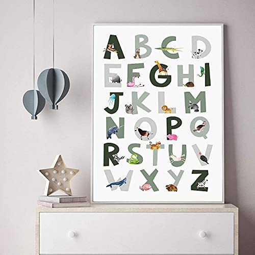 YL–wallart Impresión en Lienzo 20x30cm sin Marco Animal Alphabet Poster Educativo ABC Letter Lienzo Pinturas Arte de la Pared Imagen de impresión para niños Decoración de la habitación del bebé