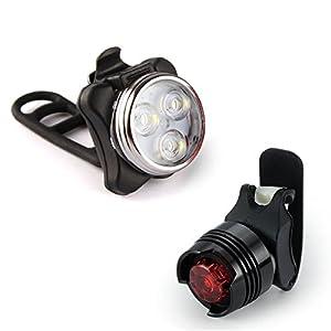 HDE - Juego de luces para bicicleta (luz delantera y luz trasera ...