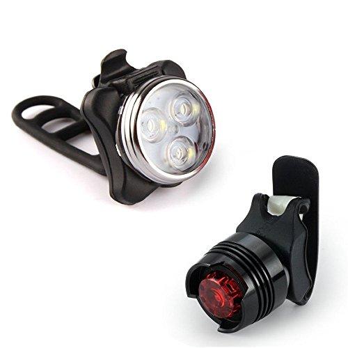 99native LED Fahrradbeleuchtung Fahrradlicht Set -Frontlicht + Rücklicht,Silikon Lampe Fahrradleuchte wasserdichte USB Wiederaufladbare,Fahrrad Vorne Rücklicht Set Push Cycle Clip Licht (Black)