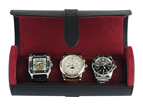 TIMELYBUYS Deluxe Black Saffiano 3 Watch Bangle Bracelet Travel Watch Case and Jewelry Roll