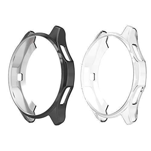 Hianjoo [2 Pack Custodia Compatibile per Samsung Galaxy Watch 42mm, Antiurto TPU Protezione Cover Protettiva Compatibile per Samsung Galaxy Watch 42mm - Trasparente,Nero