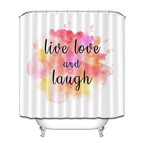 HYTCV Aquarell Backgroud Live Love Lachen Wörter Las Cortinas de baño Son Impermeables y a Prueba de Moho / 12 Ganchos