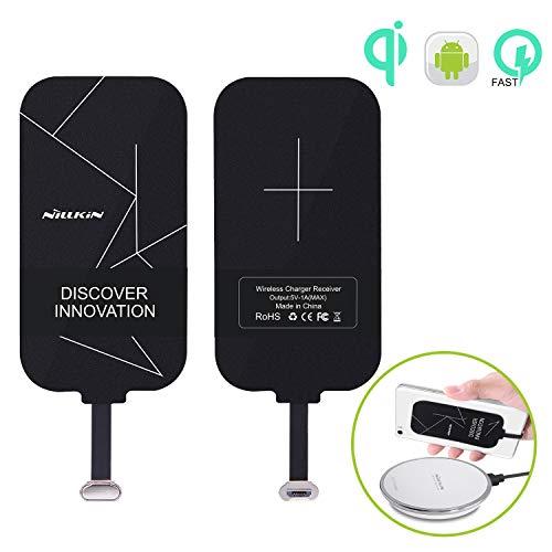 Nillkin Qi Empfänger Micro USB, Wireless Charger Receiver Induktions Ladegerät Empfänger Schnellladung Kompatibel mit Samsung A8, Huawei Mate8 und andere Micro USB schmal-Side-up Qi-Enabled Devices