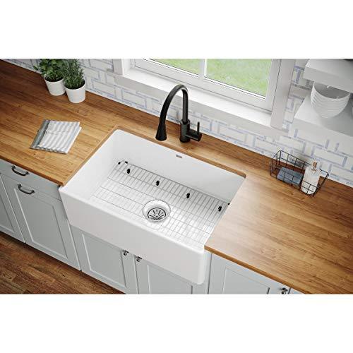 Elkay SWUF28179WHC Fireclay Single Bowl Farmhouse Sink Kit, 30', White