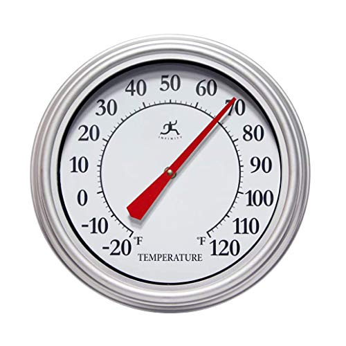 Infinity Instruments 12-Inch Round Analog Outdoor Patio Thermometer with Easy Keyhole Hanging Design, Silver