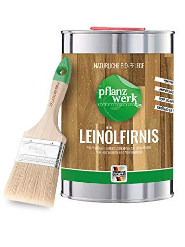 Pflanzwerk® Pflanzkübel Leinöl-Firnis Holzlasur 1 Liter + Gratis Spezial-Pinsel *100% BIOLOGISCH & VEGAN* *100% LÖSEMITTELFREIER HOLZSCHUTZ* *Made in Germany*