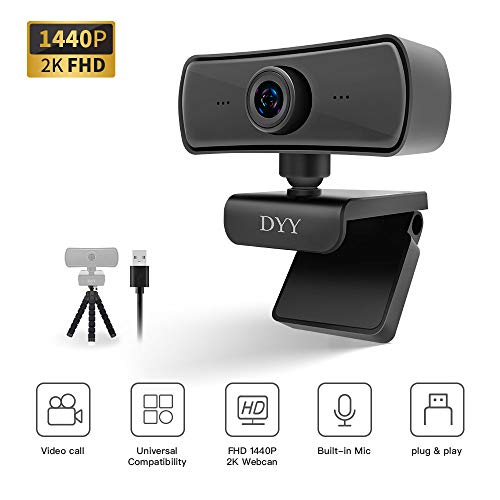 DYY 1440P HD Webcam with Microphone, 2K Streaming Camera with Tripod Stand, 4 Million Pixels Web Camera (30fps) for Video Calling Conferencing Recording, 126-Degree Web Cam USB for Laptop Desktop