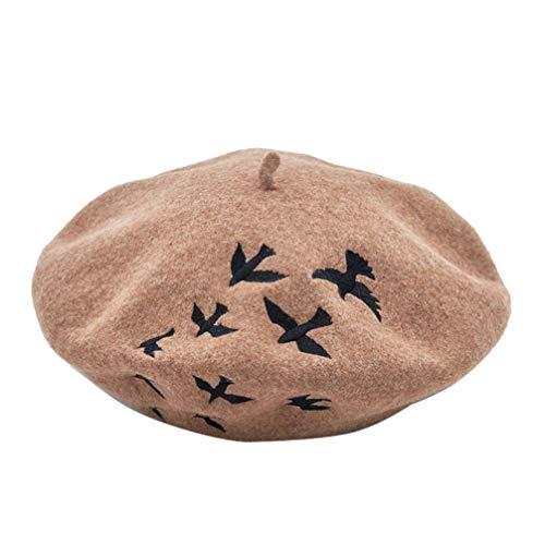 KESYOO Boina de lã bordada para mulheres e meninas estilo francês inverno quente gorro gorro vintage artista pintor chapéu, Café, 27.5*27.5cm
