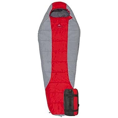 Teton Sports Tracker Ultralight Mummy Sleeping Bag; Lightweight Backpacking Sleeping Bag for Hiking and Camping Outdoors; All Season Mummy Bag; Sleep Comfortably Anywhere; Red/Grey
