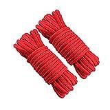 N/U Cuerda de algodón, cuerda suave, cuerda roja, 10 m, 8 mm, cuerda de algodón multiusos, cuerda de algodón grueso, apto para embalaje, decoración de la habitación, etc., 2 unidades