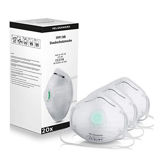 Heldenwerk Atemschutzmasken im 20er Set - Premium Staubschutzmasken - Perfekt anpassbarer FFP1 Mundschutz