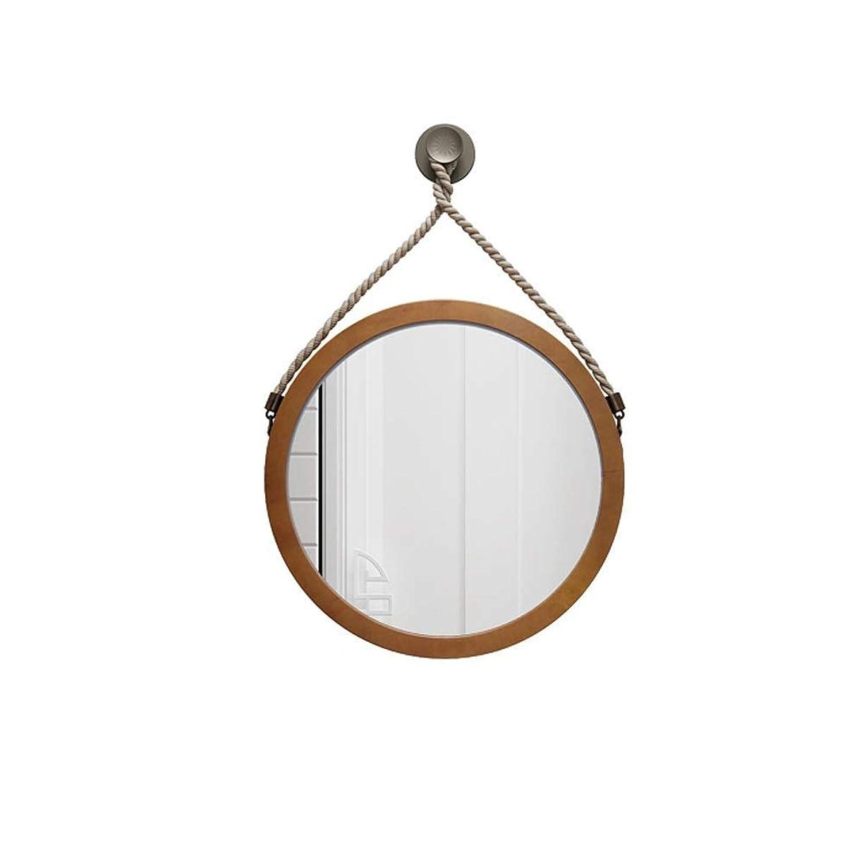 注釈抗議お酢ヨーロッパの木製バスルームミラー壁掛けバスルームミラー ベッドルームバスルームミラーインバニティミラー  Hotel Vanity Mirror Round Shop Mirror 40/50/60/70 / 80cm(サイズ:50cm)