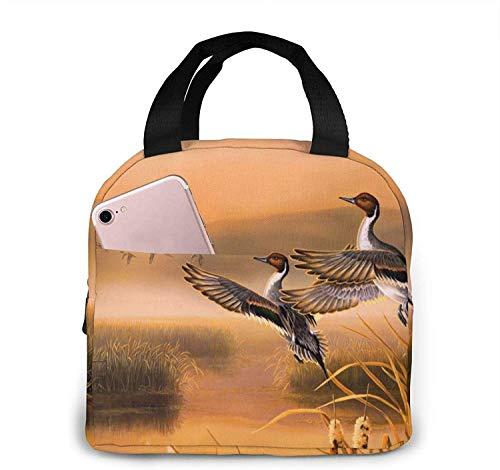 Bolsa de almuerzo de pato de pintura al óleo, bolsa de asas, caja de almuerzo, contenedor de almuerzo aislado para mujer, hombre