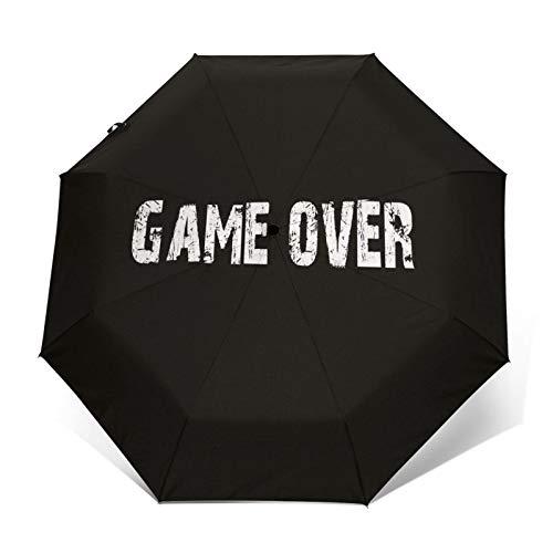 SUHETI Paraguas automático de Apertura/Cierre,Juego Terminado,Letras inglesas sobre Fondo Negro,Paraguas pequeño Plegable a Prueba de Viento
