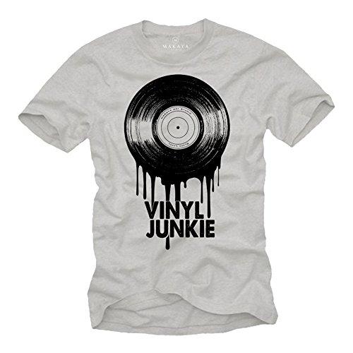 MAKAYA Magliette Musica Vintage Uomo - Vinyl Junkie - T-Shirt Hip Hop Vinile