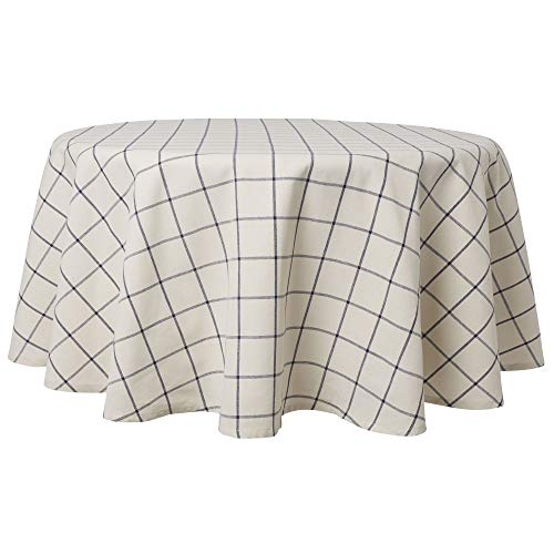 Town & Country Living Farmhouse Indoor/Outdoor Checkered Picnic Tablecloth, 100% Woven Cotton, Stain Resistant Machine Washable, 70