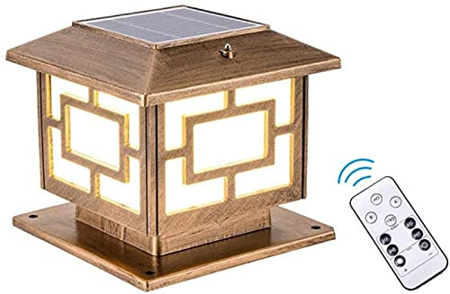 Luces Solares para Poste De Exterior, Lámpara De Poste Retro E27 con Control Remoto, Lámpara De Jardín Ip65 Linterna De Poste De Poste Impermeable para Jardín, Patio, Camino, Dorado, H: 22Cm