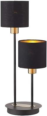WOFI Lampe de table 2 ampoules Lotte Noir