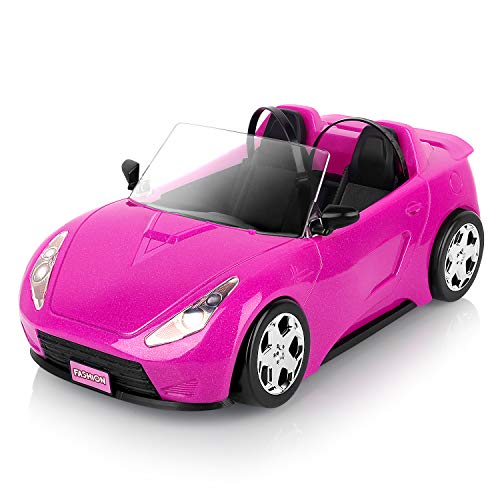 Super Joy Convertible Car for Dolls , Glittering Magenta Convertible Doll Vehicle with working Seat Belts