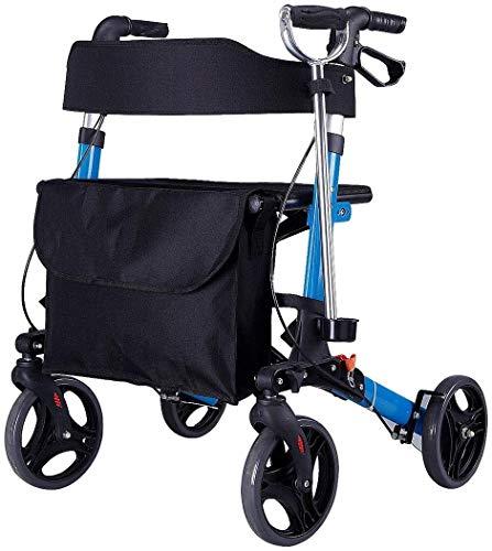 Älterer faltbaren Rollstuhl for Oma Opa Gif vier fahrbaren Rollator Walker mit Kabeln Bremsen, Gepolsterte Sitzfläche und Rückenlehne, Under Korb, Leichte faltbare Aluminiumrahmen, abschließbare Brems