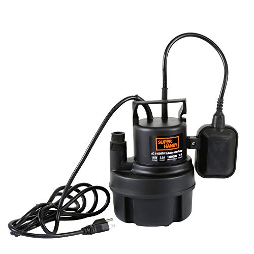SuperHandy Submersible Sump Water Pump 1/3 HP 1100 GPH 3/4' GHT or 1' Inch NPT 18' Feet Head Lift 115VAC Electric Heavy Duty Polypropylene Transfer from Ponds Tanks Pools Fountains Basements Cellars