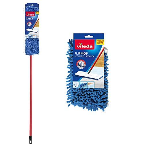 Vileda Flip Mop - Mopa de microfibras con forma trapezoidal, compuesta de 2 caras para una Limpieza más Completa + Recambio Flip Mop, limpia y abrillanta todo tipo de suelos