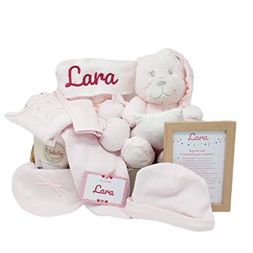 MabyBox Funny Dou Dou | Canastilla Bebé | Regalo Bebé Personalizado | Canastilla Personalizada | Cesta Bebe (Rosa)