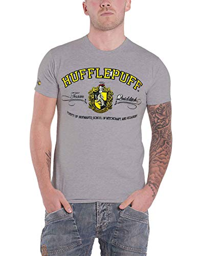 HARRY POTTER T Shirt Hufflepuff House Crest Applique Logo Ufficiale Uomo Grigio Size XS