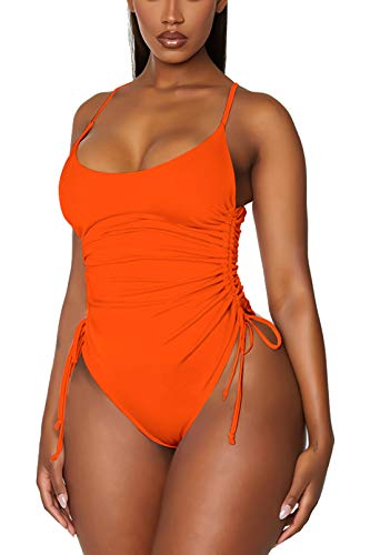 TOLENY Women's Tummy Control One Piece Swimsuits Ruched Drawstring Bathing Suits Swimwear Orange M