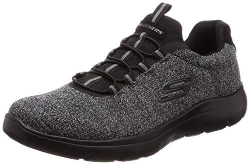 Skechers Summits Forton Herren Slip-On Freizeit-Sneaker, Schwarz (schwarz / schwarz), 44 EU