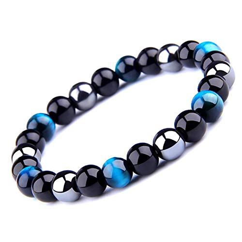 Bracelet Triple Protection Oeil de tigre perles en hématite et obsidienne noire de l'UEUC