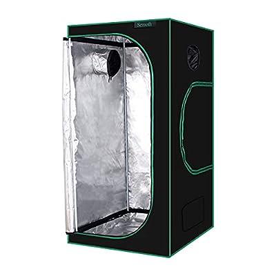 "SEMOTH 24""x24""x48"" Grow Tent, 98% Reflective 600D Mylar Waterproof Non-Light Leaking Greenhouse for Plant Indoor Growing, 2'x2'"