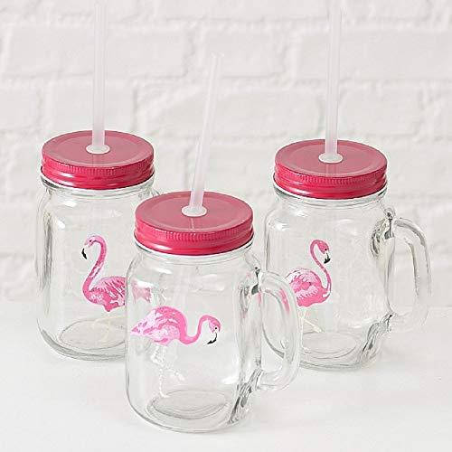 Home Collection Hogar Cubertería Cristalería Copas Fiesta Juego de 3 Vasos con Tapos y Pajitas Motivo Flamenco Rosa