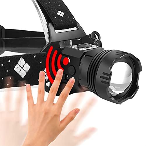 YSJJQSC Linternas Frontales LED Faro USB Recargable Cabeza de inducción antorcha zoomable 3000lm Linterna Potente 18650 Linterna al Aire Libre para Acampar (Emitting Color : White)