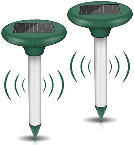 Ahuyentador Ultrasonidos Solar, 2 Piezas Repelente Solar Ultrasónico, Repelente de Topo con IP56, Ultrasónico de Control de Plagas para Jardines,Céspedes,Roedores,Serpientes, Hormigas,Topillos