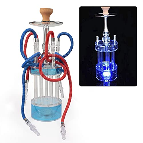 Zuxiga Hookah Set with Everything, LED Light-Gatling Shape Hooka,Acrylic Material is Sturdy and Durable, fits for KTV Clear Bar Finished Set.