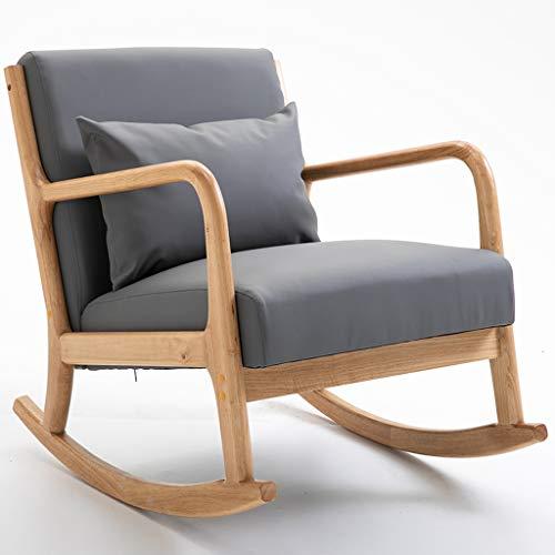 AFEO Massivholz Schaukelstuhl Essensstuhl Lesesessel Balkon Schlafzimmer Wohnzimmer Garten Lounge-Sessel Entspannender Stuhl Rückenlehnen Sessel Sonnenliege Camping Schaukelstuhl